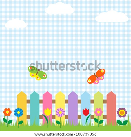 Colorful fence with flowers and butterflies