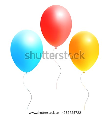 colorful festive balloons on a white background