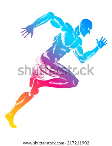 Colorful figure of a man running - stock vector