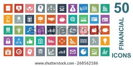 Colorful Financial Icon Set  - stock vector