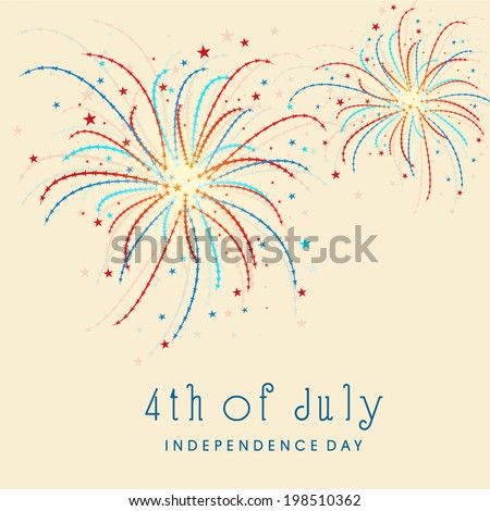 Colorful fireworks on beige background for 4th of July, American Independence Day celebrations.  - stock vector
