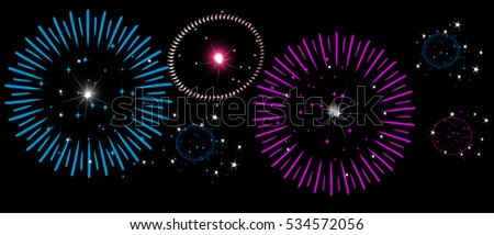 Colorful fireworks on night sky, New Year, Independence Day, horizontal banner