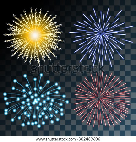 Colorful Fireworks on Transparent background. Set Illustration. Vector EPS10. - stock vector