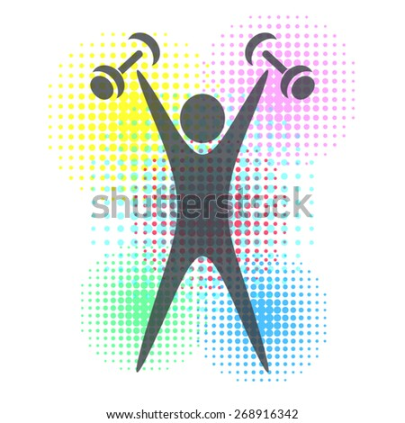 Colorful fitness design with figure and halftone background - stock vector