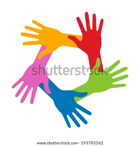 Colorful Five Hands Icon, vector illustration  - stock vector