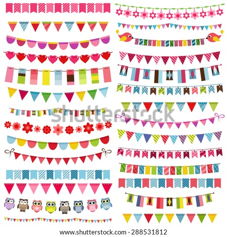 Colorful flags, bunting and garland set - stock vector