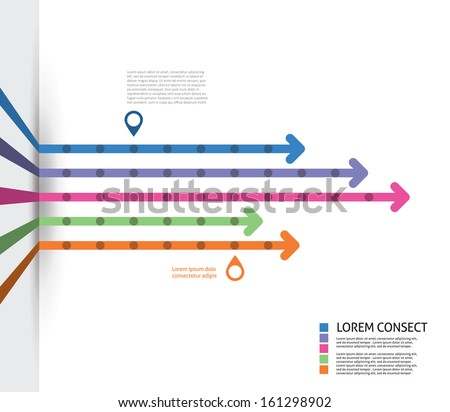 Colorful Flat Arrow Timeline Template - EPS10 Vector Illustration - stock vector