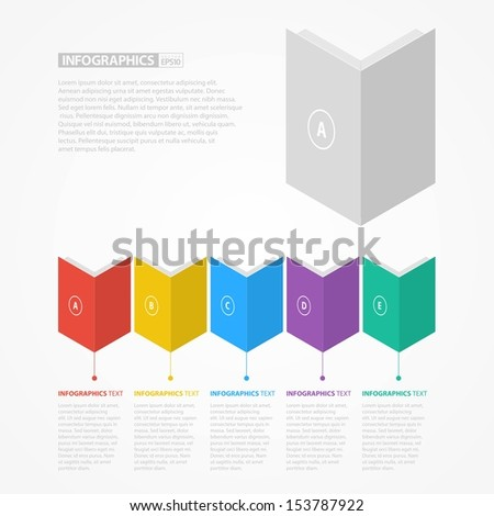 Colorful Flat Books Step by Step / EPS10 Vector Illustration / - stock vector