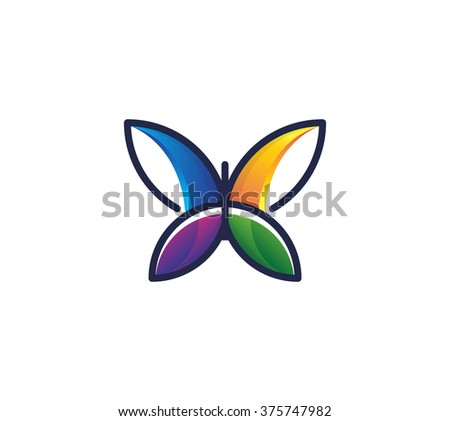 Colorful flat butterfly.  - stock vector