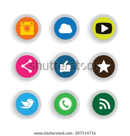 colorful flat button designs of camera, like, messenger bird, phone receiver, website share - social network vector icons. This also represents rss syndication, cloud computing, playing video, chat - stock vector