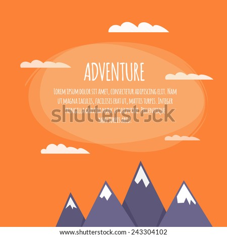 Colorful flat cartoon vector background. Quality design illustrations, elements and concept. Adventure. - stock vector