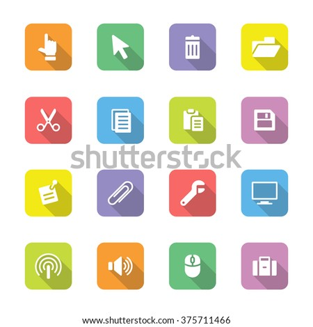 colorful flat computer and technology icon set 3 on rounded rectangle with long shadow for web design, user interface (UI), infographic and mobile application (apps) - stock vector