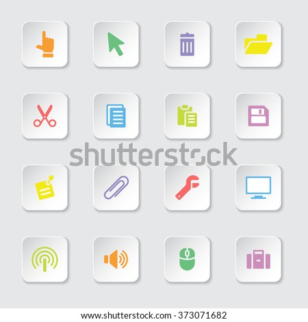 colorful flat computer and technology icon set 3 on white rounded rectangle button with soft shadow for web design, user interface (UI), infographic and mobile application (apps) - stock vector