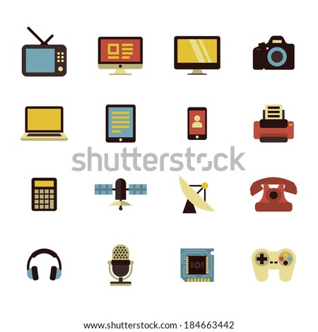 Colorful flat icons of electronic multimedia and telecommunication devices - stock vector