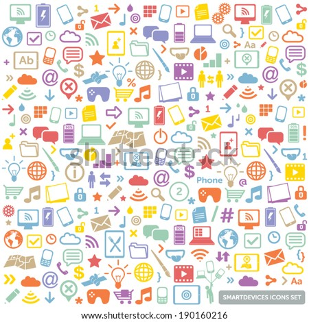 colorful flat icons set - modern, new technology, multimedia, smart devices design elements & symbols - stock vector