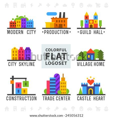 Colorful flat logo set. Cityscape, houses, buildings, castle, shop, factory. Vector flat logos - stock vector