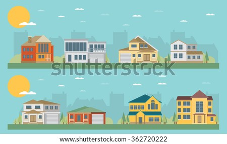 Colorful Flat Residential Houses - stock vector