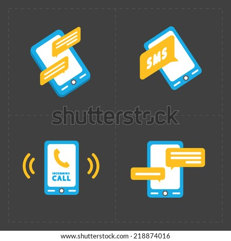 Colorful flat social icons set of smartphones - stock vector