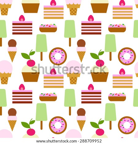 Colorful flat style ice cream and sweets seamless vector pattern. Flat style ice cream background. Little delicious flat cupcakes,donuts seamless pattern background. - stock vector