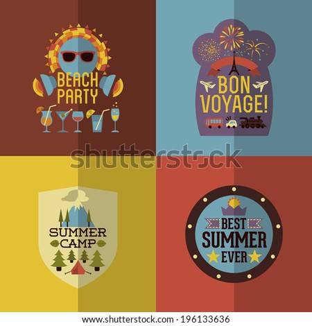 Colorful Flat Summer Holiday and Travel themed Emblems and Labels - stock vector