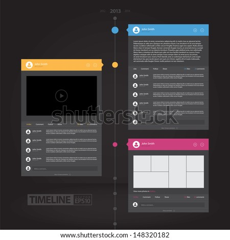 Colorful Flat Timeline Infographics / EPS10 Vector Illustration / - stock vector