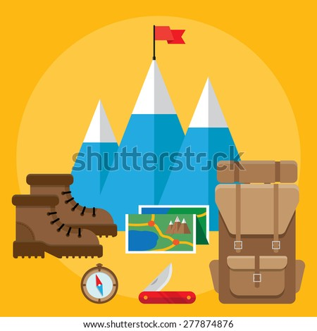 Colorful flat vector icons set. Quality design illustrations, elements and concept. Climbing icons. - stock vector