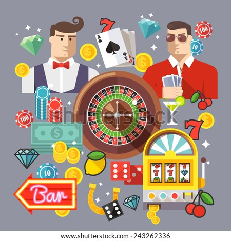 Colorful flat vector illustration concept. Quality flat design. Gambling icons, casino icons, money icons, poker icons. - stock vector
