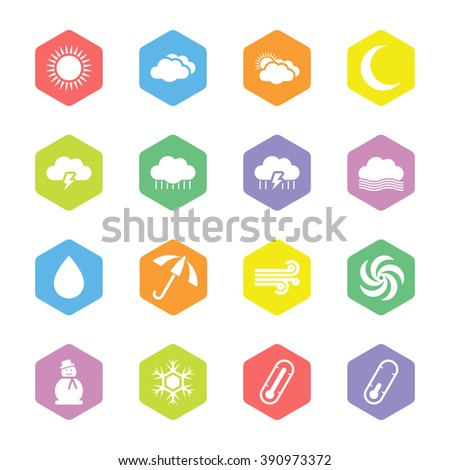 colorful flat weather icon set on hexagon for web design, user interface (UI), infographic and mobile application (apps) - stock vector