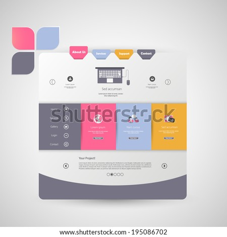 Colorful Flat Website - stock vector