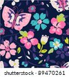 colorful floral and butterfly  seamless pattern background - stock vector