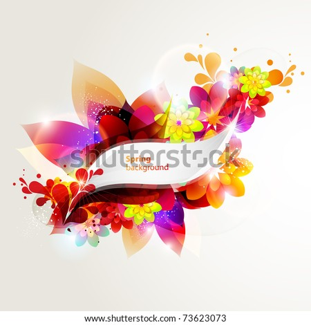 Colorful floral banner - stock vector