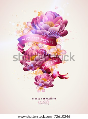 colorful floral composition with watercolor splats and banner for your text - stock vector