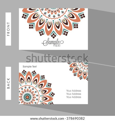Colorful floral design decorated, Horizontal Business Card, Name Card or Visiting Card set with front and back presentation. - stock vector