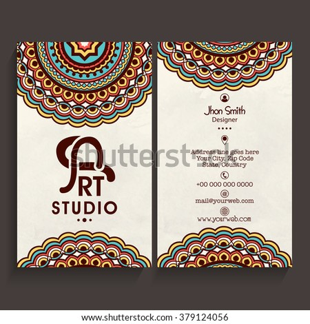 Colorful floral design decorated, Vertical Business Card, Name Card or Visiting Card set with front and back presentation. - stock vector