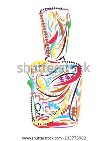 Colorful floral Nail Polish Bottle on white background