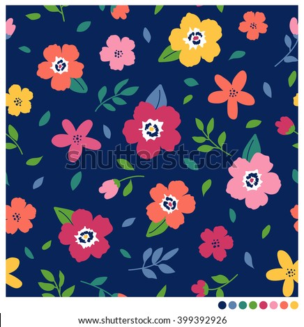 Colorful floral seamless vector pattern - stock vector