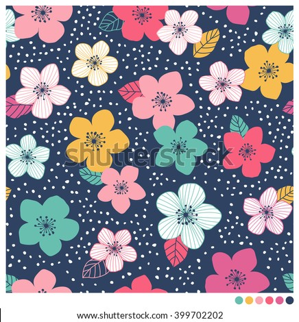 Colorful floral seamless vector pattern with dot background - stock vector