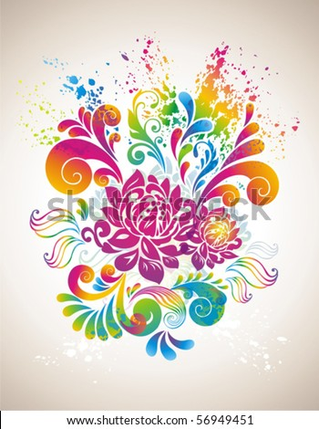 Colorful flower background. - stock vector