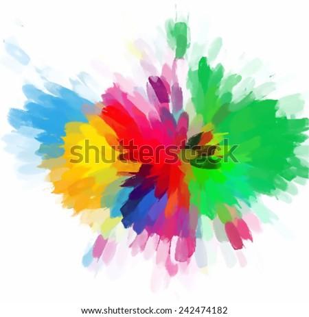 Colorful flower brush strokes - stock vector