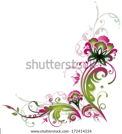 Colorful flower decoration, pink and green, vintage - stock vector