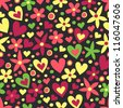 Colorful flower & heart seamless background - stock vector
