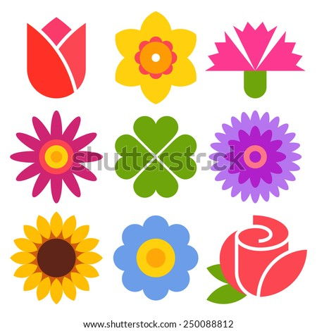 Colorful flower icon set isolated on white background - stock vector