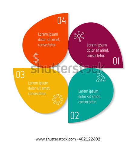 Colorful flower infographic banner template. Circular sequence banner with four options. Round progress banner template with 4 parts. Business infographic design element EPS10. - stock vector