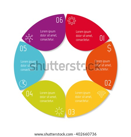 Colorful flower infographic banner template. Circular sequence banner with six options. Round progress banner template with 6 parts. Business infographic design element EPS10. - stock vector