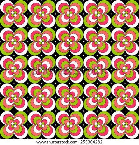 Colorful flower like tiles in neon colors seamless pattern - stock vector