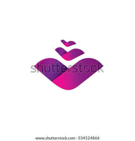 Colorful flower logo template. Vector abstract purple bloom symbol. Plant icon with leaves, fashion logotype idea, birds, waves, three letter V concept sign, rose, floral, nature, natural - stock vector
