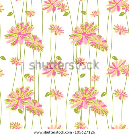 Colorful Flower Seamless Pattern Background Wallpaper - stock vector