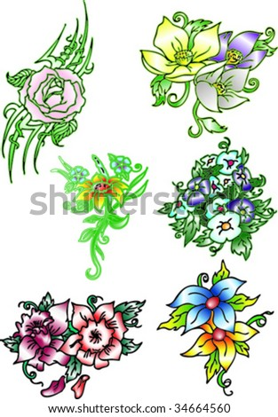 colorful flowers - stock vector