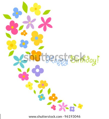Colorful flowers - birthday vector card