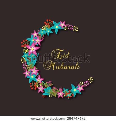 Colorful flowers decorated crescent moon for Muslim community festival, Eid Mubarak celebration. - stock vector